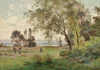 ISENBART Emile (1846-1921) « La fenaison » Huile sur toile. Signé en bas à gauche....