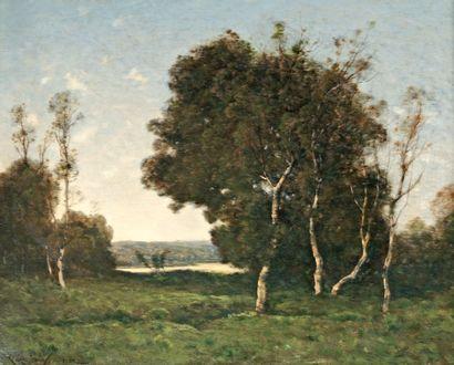 HARPIGNIES Henri Joseph (1819-1916) « Bord de lac » Huile sur toile, rentoilée. Signée...