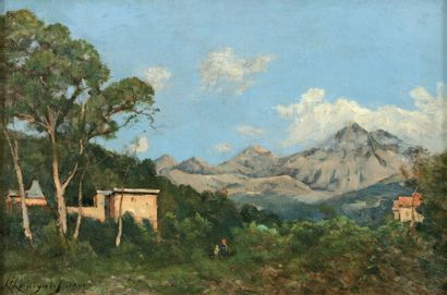 HARPIGNIES Henri Joseph (1819-1916) « Personnages dans les collines de l'arrière...
