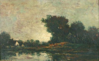 DAUBIGNY Charles François (1817-1878) « Le Moulin de Gilieu » Huile sur panneau....