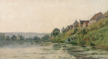 SAUZAY Adrien (1841-1928) « Bord de Seine à Sanois sur Seine » Huile sur toile. Signée...