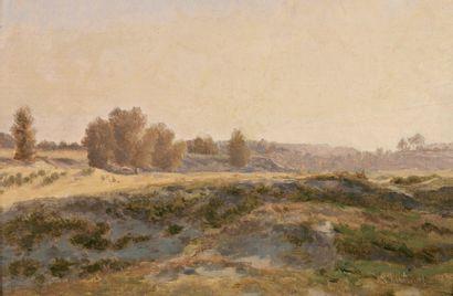 CHINTREUIL Antoine (1816-1873) « Prairie » Huile sur panneau. Signée en bas à droite....