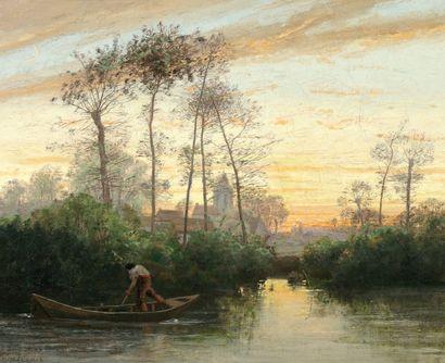 CHINTREUIL Antoine (1816-1873) « Pêcheur sur sa barque » Huile sur toile. Signée...