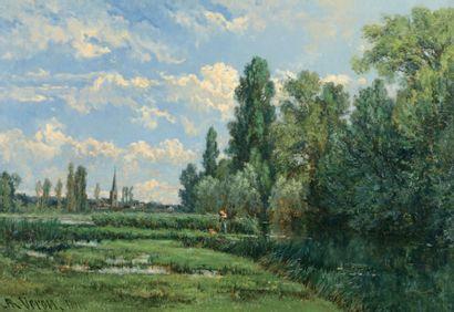 VERON Alexandre René (1826-1897) « Pêcheur au bord de l'étang » Huile sur toile,...