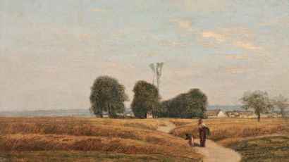 LAVIEILLE Eugène (1820-1889) « Chemin vers Barbizon » Huile sur panneau. Signée en...