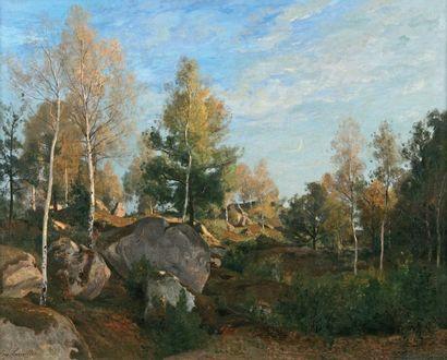 LAVIEILLE Eugène (1820-1889) « Les gorges de Franchard avec mon ami Corot » Huile...