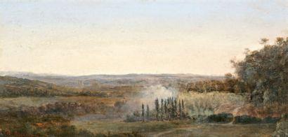 ROUSSEAU Théodore (1812-1867) « Vue sur la vallée » Huile sur panneau. Signée en...