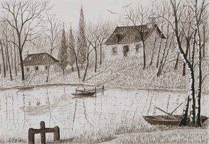 Etang des Chaussades (Corrèze) Plume et lavis,...