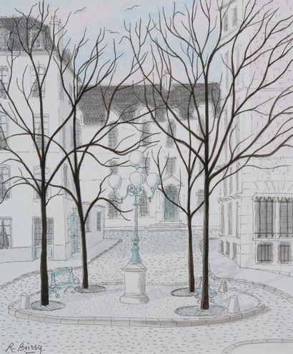 Place Furstenberg Plume et lavis, signée...
