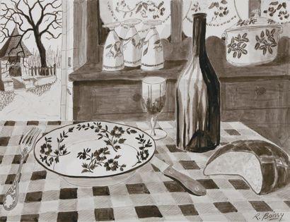 Table à l'assiette à fleurs Plume et lavis...