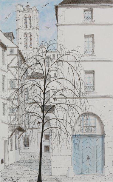 L'église Saint Gervais (Paris) Plume et lavis...