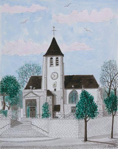 Eglise de Charonne Plume et aquarelle signée...