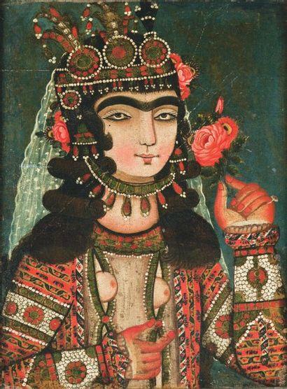 Portrait d'une jeune persane en buste. Huile...