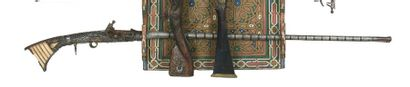 Fusil, mukahla, à platine en silex, en bois...