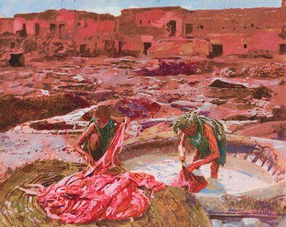 Jacques MAJORELLE (1886-1962) Jeunes teinturiers de Marrakech. Gouache, signée et...