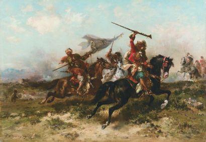 Georges WASHINGTON (1827-1910) Escouade de cavaliers arabes. Huile sur toile, signée...
