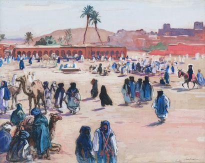 Henri PONTOY (1888-1968) Les hommes bleus à Goulimine. Gouache, signée en bas à droite...