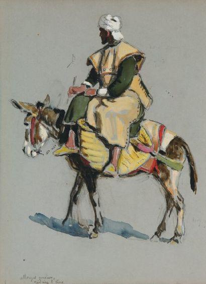 Paysan sur son âne. Crayon, gouache et aquarelle....