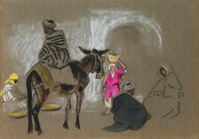 Scène de rue. Crayon, gouache et aquarelle....