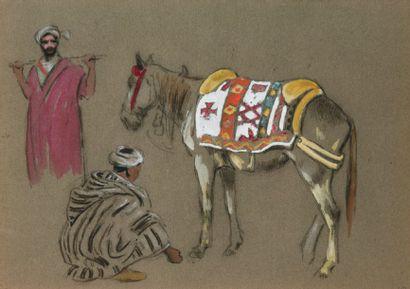 Cheval harnaché et deux cavaliers. Crayon,...