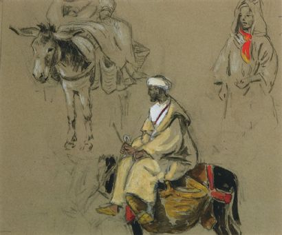 Trois études dont un paysan sur son âne. Crayon, gouache et aquarelle. 24 x 28 ...