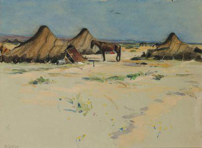 Campement dans le désert près de Biskra. Crayon, gouache et aquarelle située en...