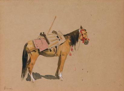 Le cheval. Crayon, gouache et aquarelle....