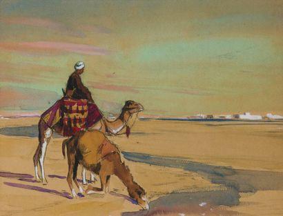 Méhariste sur les bords du Nil. Crayon, gouache...