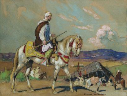 Cavalier arabe devant le campement. Gouache,...