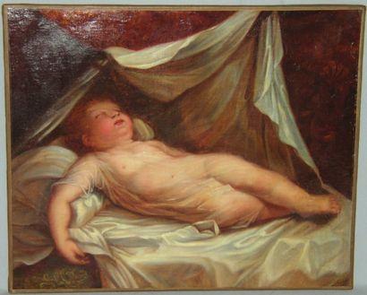 « Enfant endormi », charmante huile sur toile...