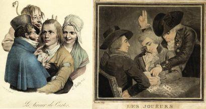 """Ensemble de 6 gravures représentant des tricheurs 1.""""Le Tireur de cartes"""" par L.Boilly...."""