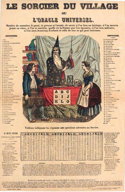 """Le sorcier du village ou """"L'Oracle universel"""". Fabrique de Pellerin Imprimeur-Libraire..."""