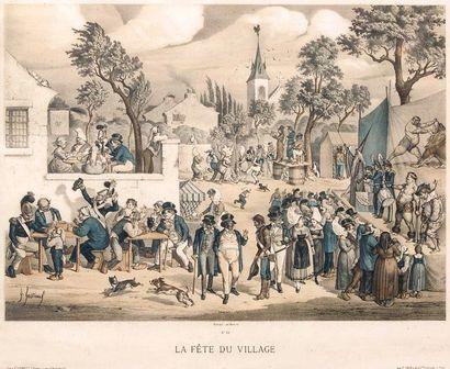 La fête du village. Très belle gravure en couleurs représentant un magicien en bonnet...