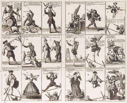 Planche de saltimbanques 18 vignettes représentant des scènes de cirque : acrobates,...