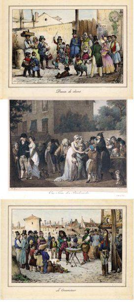 """Ensemble de quatre gravures en couleurs 1. """"Une scène des boulevards"""" d'après Boilly..."""