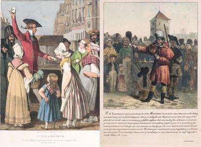 """Ensemble de trois lithographies en couleurs 1. Escamoteur à Londres en 1820"""" d'après..."""