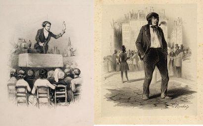 Ensemble de deux très rares lithographies originales de Frédéric Bouchot (1798-18..)...