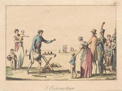 """Ensemble de trois gravures de Duplessi-Bertaux 1. """"L'Escamoteur"""", épreuve coloriée...."""