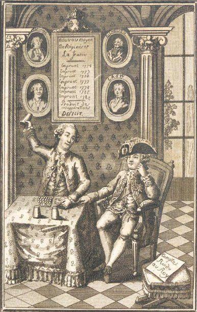 Louis XVI et Necker Gravure politique sur cuivre représentant le déficit des finances...