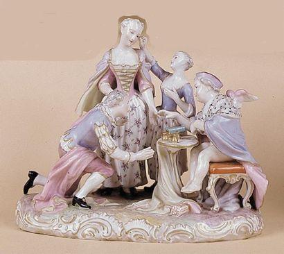 L'angelot joueur de gobelet Groupe en porcelaine...
