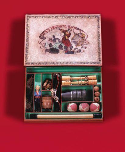 "Boîte de magie d'origine allemande (vers 1880) ""The Conjurer - Der Zauberer - L'Escamoteur""...."