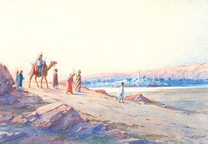 «El oued, le soir en Egypte». Aquarelle,...