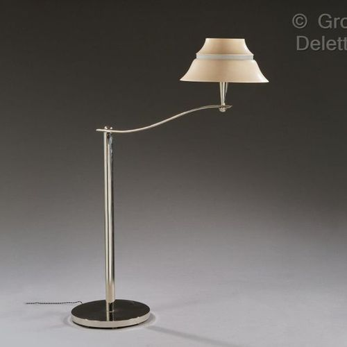 Jean Perzel (1892 1986) Reading lamp in nickel plated metal with a cylindrical b…