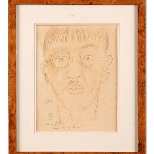 LÉONARD FOUJITA (1886 1968) Self portrait, 1932 Pencil and watercolour on paper.…