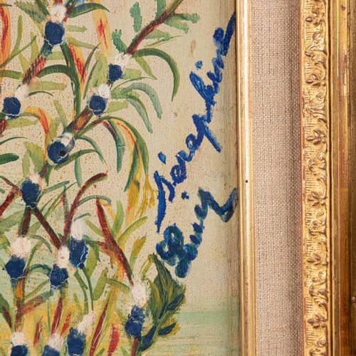 Séraphine DE SENLIS (1864 1942) Blue and white flowers Oil on panel. Signed in t…