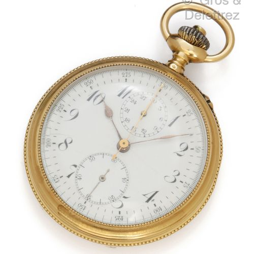 "Yellow gold ""Chronograph"" pocket watch, white dial with two counters and painted…"