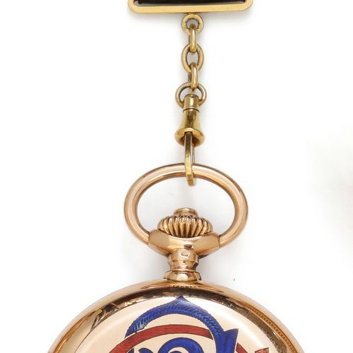 PATEK PHILIPPE & Co Yellow gold pocket watch enamelled with the number S.G., rou…