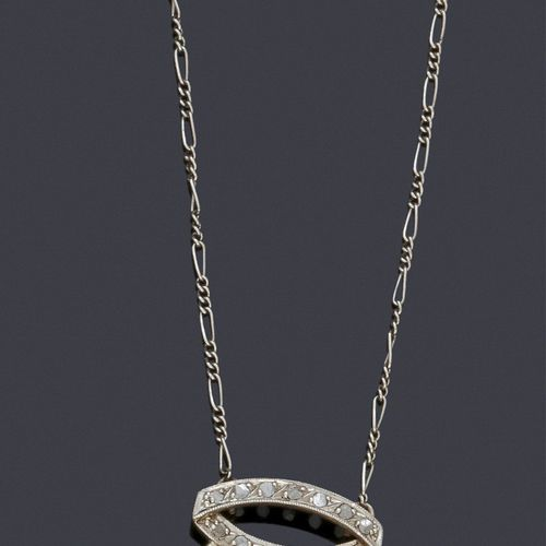 """Necklace """"Neglected"""" in platinum and silver, adorned with two rose cut diamonds …"""