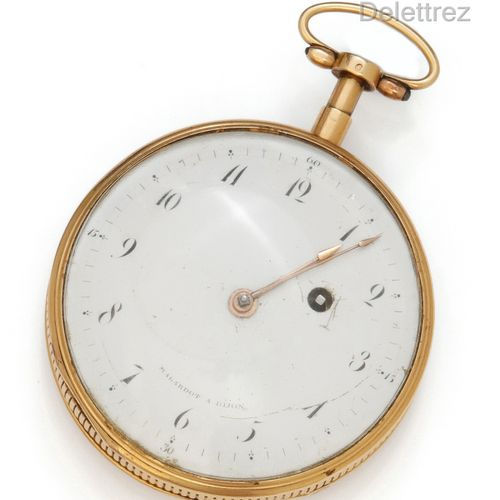 MALARDOT à DIJON Yellow gold pocket watch with hour and quarter repeater, double…