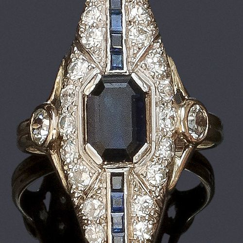 """Platinum and white gold """"Navette"""" ring with geometrical design entirely set with…"""